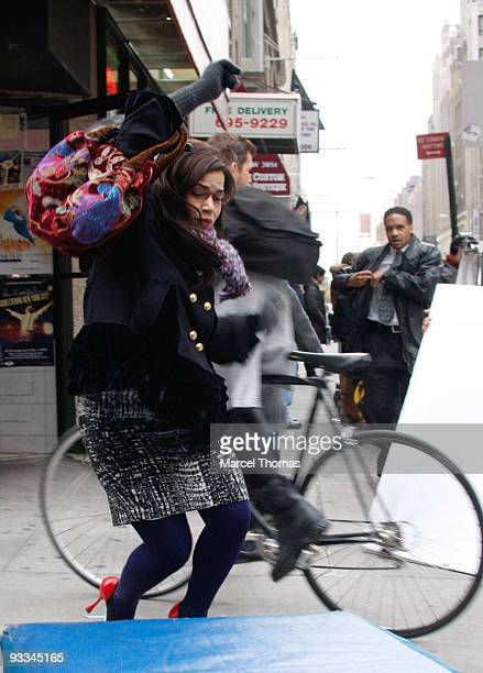 America Ferrera is seen filming on the set of the TV show Ugly Betty on the Streets of Manhattan on November 23 2009 in New York City