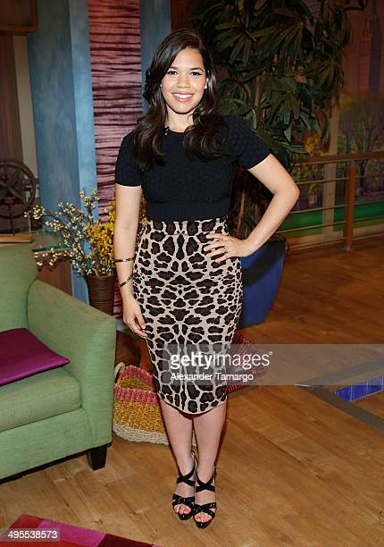 America Ferrera is seen on the set of Despierta America to promote the movie 'How to Train Your Dragon 2' at Univision Headquarters on June 4 2014 in...