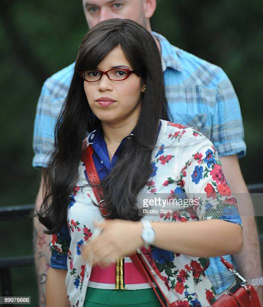 America Ferrera on location for Ugly Betty on the streets of Manhattan on August 19 2009 in New York City
