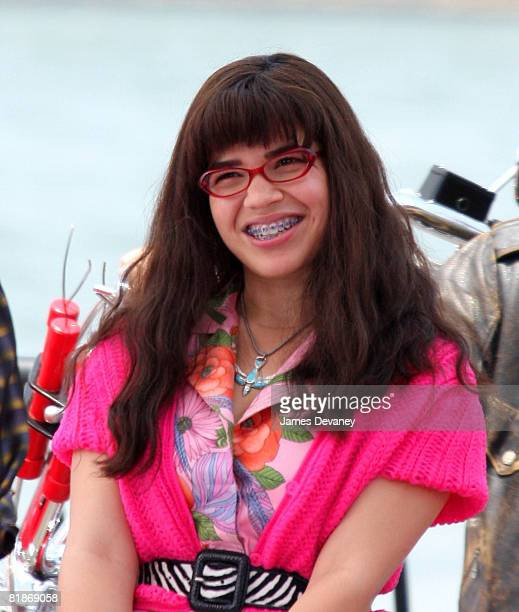 America Ferrera on the Brooklyn set of Ugly Betty on July 8 2008 in New York City