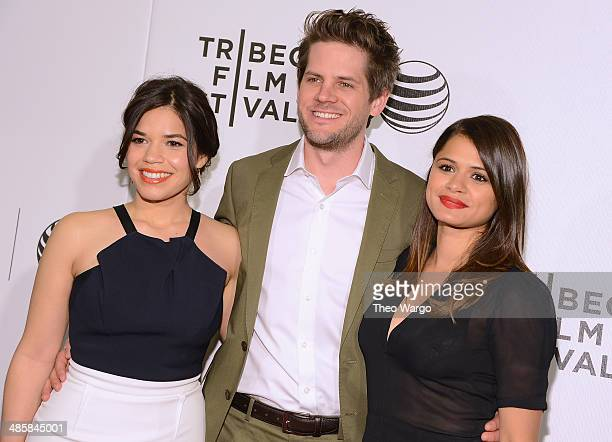 America Ferrera Ryan Piers Williams and actress Melonie Diaz attend the screening of 'X/Y' during the 2014 Tribeca Film Festival at BMCC Tribeca PAC...