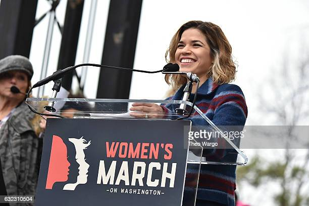 America Ferrera speaks onstage at the Women's March on Washington on January 21 2017 in Washington DC