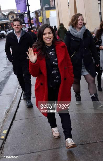 America Ferrera walks down Main Street during the 2020 Sundance Film Festival In Park City on January 23, 2020 in Park City, Utah.