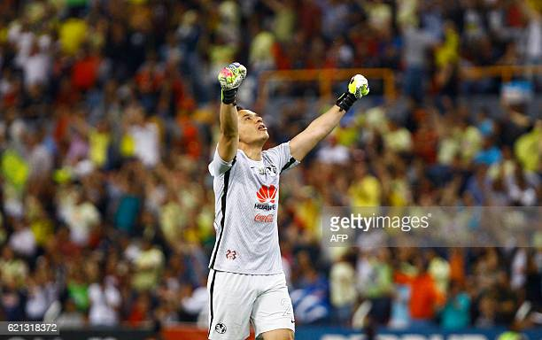America goalkeeper Moises Munoz celebrates scoring by his team during their Mexican Apertura 2016 tournament football match against Atlas at Jalisco...
