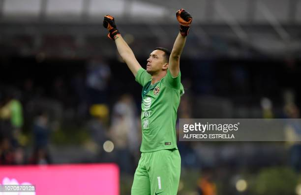 America goalkeepr Federico Marchesin celebrates the fourth goal against Pumas during the second round of semifinals of the Mexican Apertura...