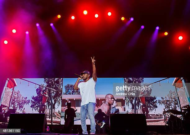 America Hiphop Artist Kendrick Lamar performs onstage during the Pemberton Music Festival on July 19 2015 in Pemberton Canada