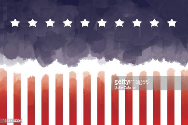 america illustration in water color style with usa flag colors - patriotic stock pictures, royalty-free photos & images