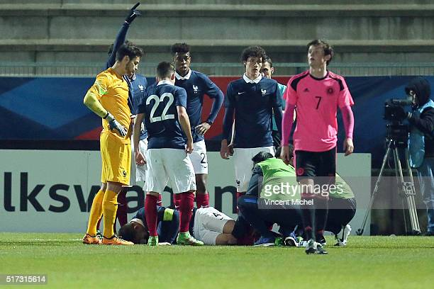 America Laporte of France injured during the Uefa U21 European Championship qualifier between France and Scotland at Stade Jean Bouin on March 24...