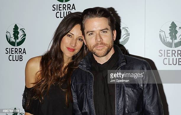 America Olivo and Christian Campbell attend the Sierra Club's Act In Paris a night of comedy and climate action at Heath at the McKittrick Hotel on...