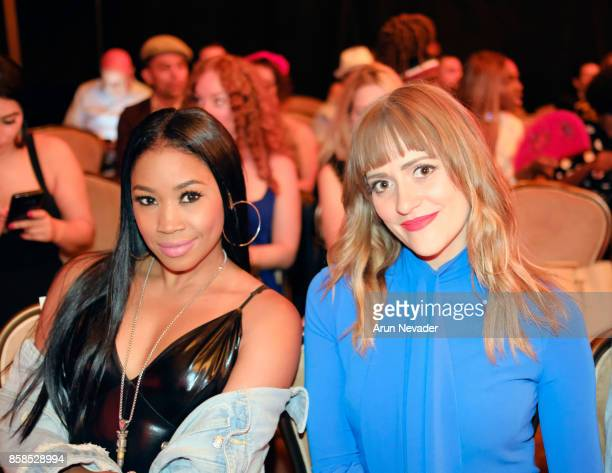 America Professional Wrestler Ariane Andrew and singer Bellsaint at Los Angeles Fashion Week SS18 Art Hearts Fashion LAFW on October 6 2017 in Los...