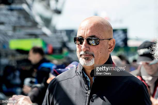 America racing legend Bobby Rahal is shown in the pits before opening practice for the 24 Hours of Le Mans on June 15 2016 in Le Mans France