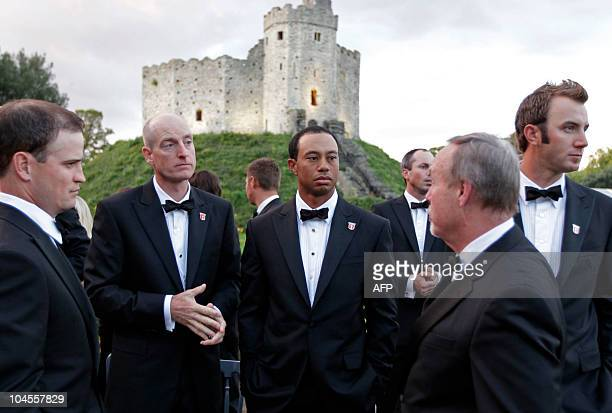 """America Ryder Cup player, Tiger Woods , stands with team-mates before the """"Welcome to Wales 2010 Ryder Cup"""" dinner at Cardiff Castle, in Wales, on..."""
