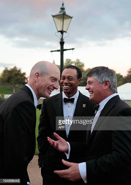 """America Ryder Cup player, Tiger Woods , talks with other players before the """"Welcome to Wales 2010 Ryder Cup"""" dinner at Cardiff Castle, in Wales, on..."""