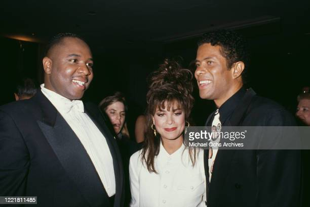 America singer Freddie Jackson, American singer and dancer Paula Abdul, and American singer Gregory Abbott attend the National Academy of Popular...
