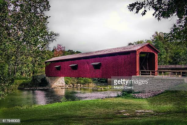 america the beautiful - covered bridge stock photos and pictures