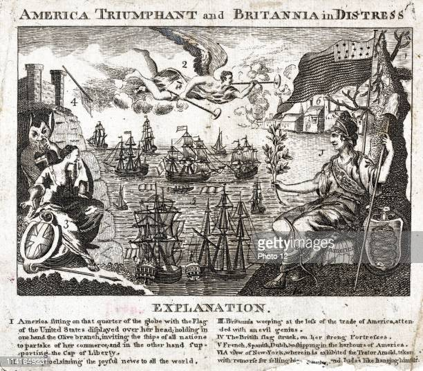 America triumphant and Britannia in distress 1782 allegory of American prosperity and victory over England Below the image an 'Explanation' reads 'I...