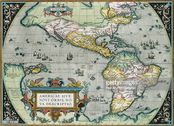 Americae Sive Novi Orbis Nova Descriptio Map by Abraham Ortelius