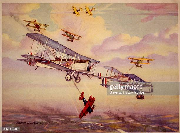 American 8th US Observation Squadron Flying De Havilland 4's Attacked by German Fokker D7's circa 1917