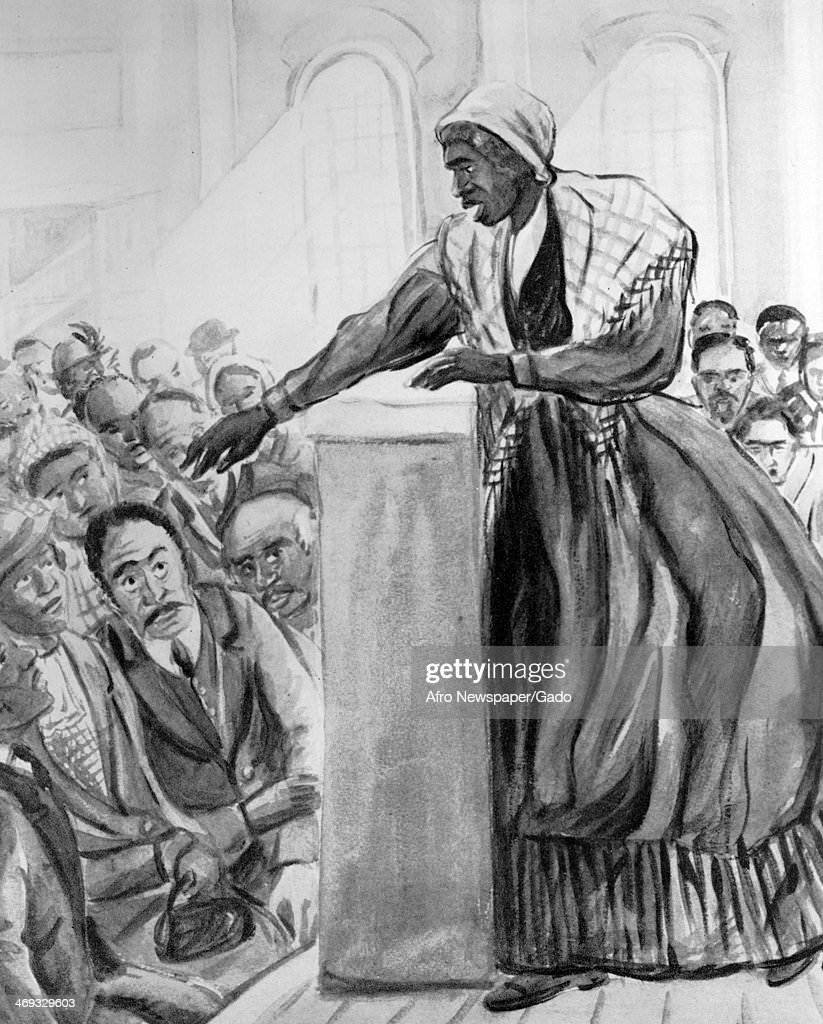 American abolitionist and women's rights activist Sojourner Truth preaching to a crowd from a lectern on a stage, circa 1860.