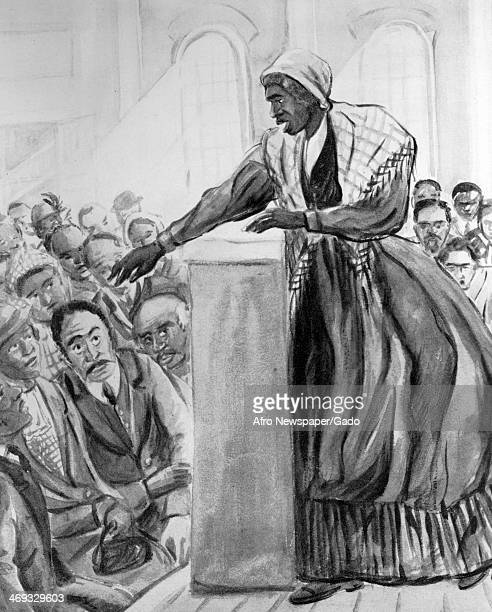American abolitionist and women's rights activist Sojourner Truth preaching to a crowd from a lectern on a stage circa 1860