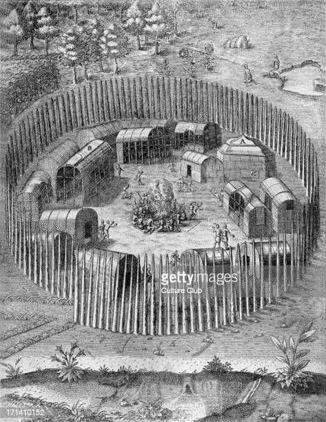 American aboriginal Indian village in Virginia. 'Report of the new found land of Virginia.' 1590.