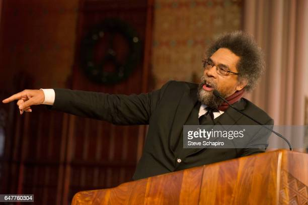American academic political activist and critic Cornel West gestures during a lecture at St Sabina Church in the Auburn Gresham neighborhood Chicago...