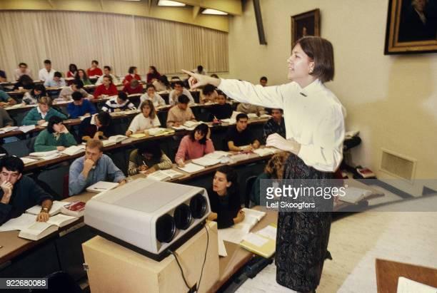 American academic Professor Elizabeth Warren teaches an unspecified class at University of Pennsylvania Law School Philadelphia Pennsylvania early...