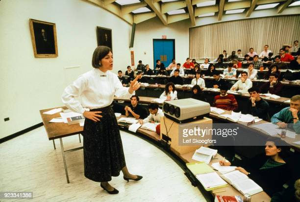 American academic Professor Elizabeth Warren teaches an unspecified class at University of Pennsylvania Law School, Philadelphia, Pennsylvania, early...