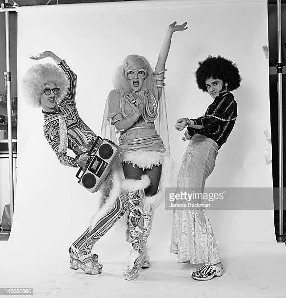 American acid disco band Shazork, New York City, 1987. Left to right: Sister Dimension, Lady Bunny , and DJ Dmitri Brill. Dmitri Brill later joined...