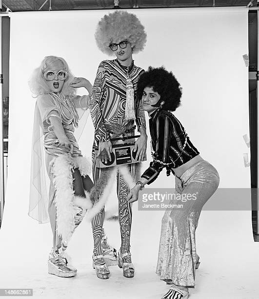American acid disco band Shazork, New York City, 1987. Left to right: Lady Bunny , Sister Dimension and DJ Dmitri Brill. Dmitri Brill later joined...