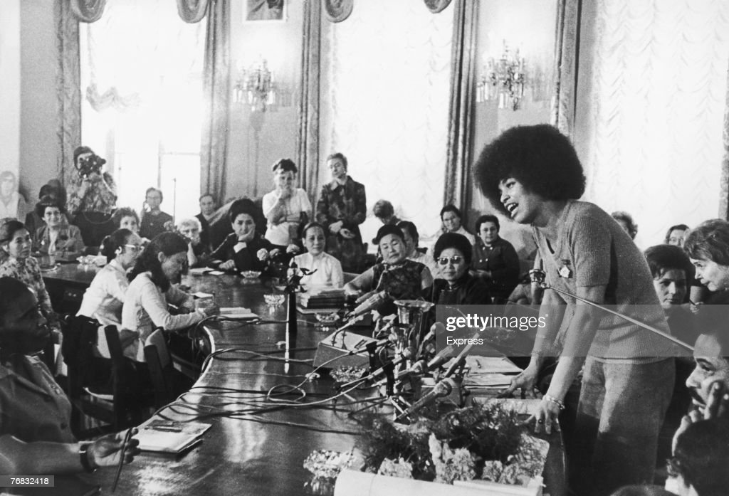 American activist and philosophy professor Angela Davis, Central Committee member of the Communist Party of America, addresses the Soviet International Women's Seminar in Moscow, 4th September 1972. The seminar marks the 50th anniversary of the formation of the Soviet Union.