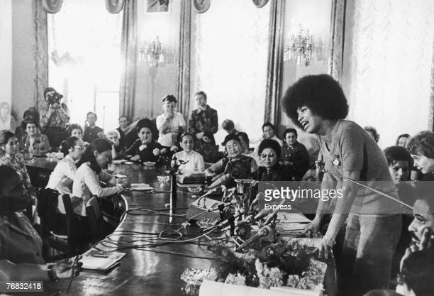 American activist and philosophy professor Angela Davis, Central Committee member of the Communist Party of America, addresses the Soviet...
