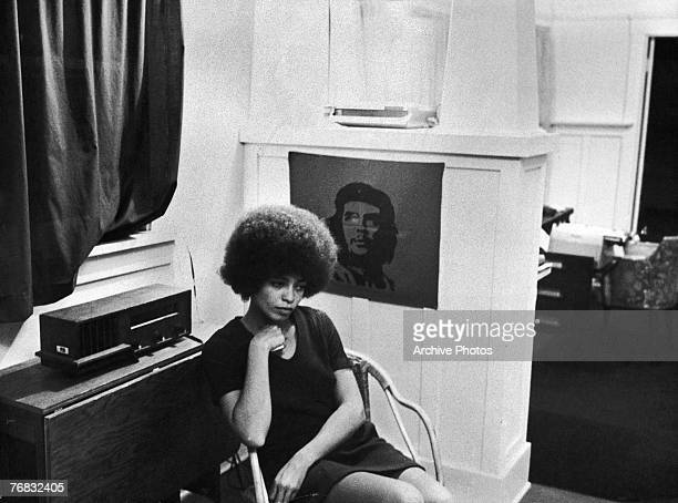 American activist Angela Davis, shortly after she was fired from her post as philosophy professor at UCLA due to her membership of the Communist...