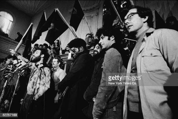 American activist Jerry Rubin speaks at a news conference with other members of the Chicago Seven including John Froines Rennie Davis Lee Weiner and...