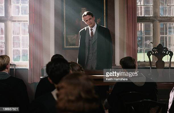 American actor Aidan Quinn addresses the class in a scene from the film 'Haunted' 1995