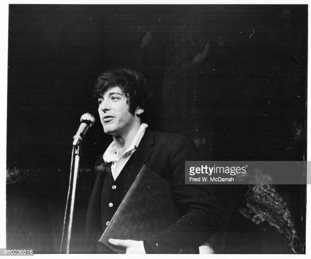 American actor Al Pacino speaks from the stage after receiving the Obie Award for Best Actor at the Village Gate New York New York May 25 1968