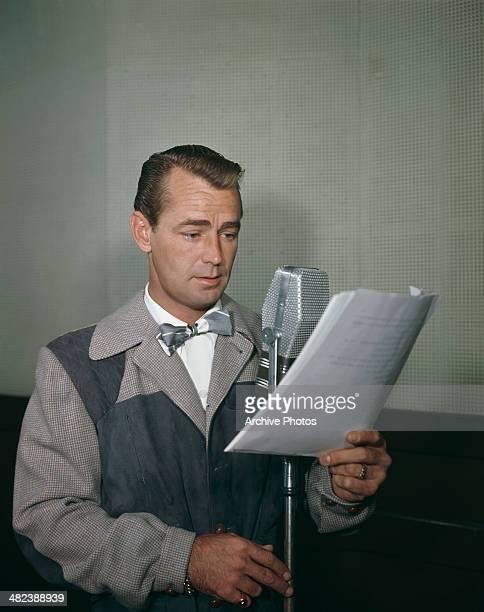 American actor Alan Ladd in a sound studio, circa 1955.