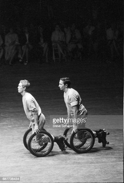 American actor Alex Hay and artist Robert Rauschenberg perform in Rauschenberg's 'Pelican' as part of the NOW Festival at the National Area's...