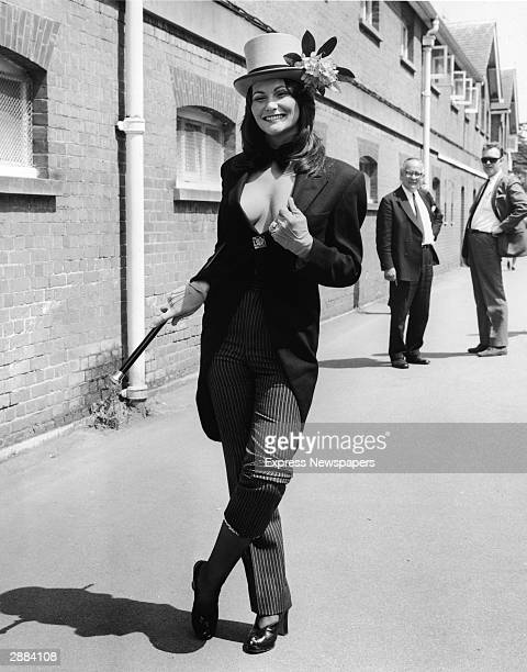American actor and adult film star Linda Lovelace attends the Royal Ascot races in a revealing morning suit June 20th England