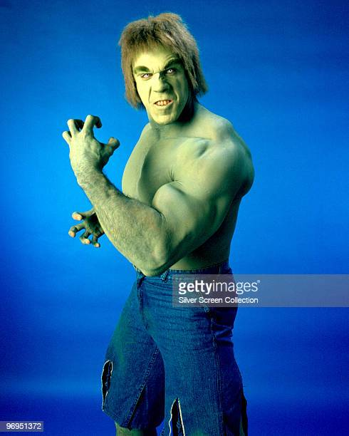 American actor and bodybuilder Lou Ferrigno as Dr Banner's atavistic alterego in the television series 'The Incredible Hulk' circa 1978