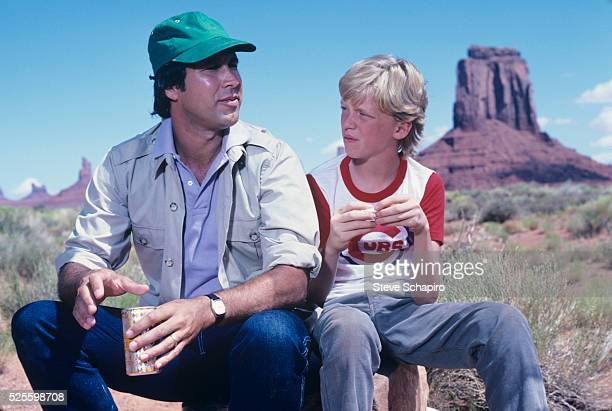 Promotional shoot for National Lampoon's Vacation with Anthony Michael Hall and Chevy Chase