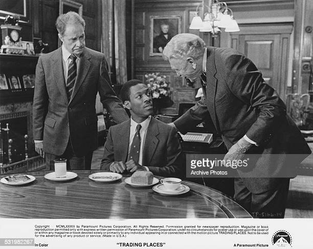 American actor and comedian Eddie Murphy as Billy Ray Valentine with Don Ameche and Ralph Bellamy as Mortimer and Randolph Duke in a scene from...