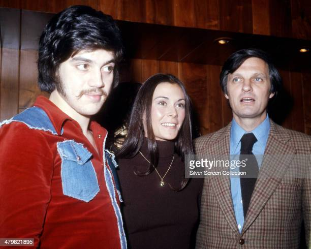 American actor and comedian Freddie Prinze with actress Kate Jackson and actor Alan Alda circa 1975