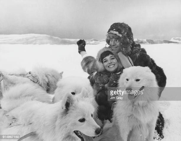 American actor and comedian Jerry Lewis and costar Jacqueline Pearce film an Antarctic scene for the film 'Don't Raise the Bridge Lower the River' at...