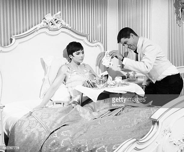 American actor and comedian Jerry Lewis seen here with actress Jacqueline Pearce during a breakin filming Don't Raise the Bridge Lower the River at...