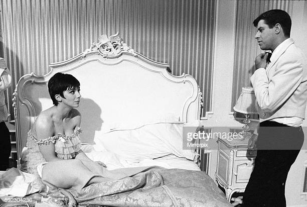 American actor and comedian Jerry Lewis seen here with actress Jacqueline Pearce during filming Don't Raise the Bridge Lower the River at the...