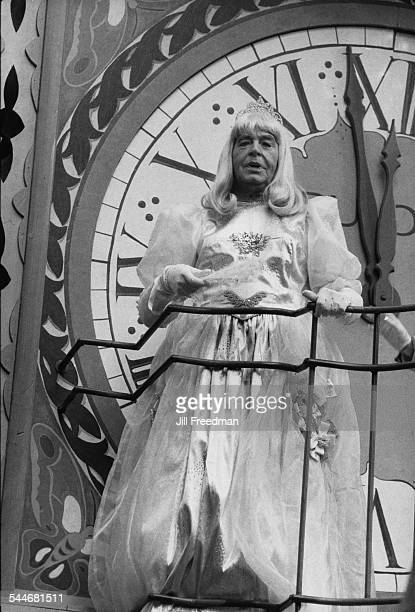 American actor and comedian Milton Berle dressed as Cinderella to perform the role of Grand Marshall of the 1981 Macy's Thanksgiving Day Parade New...