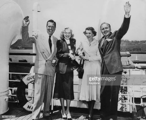 American actor and comedian Phil Harris and his wife actress Alice Faye with actor Jack Benny and his wife actress Mary Livingstone on board the...