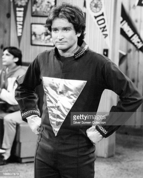 American actor and comedian Robin Williams as alien visitor Mork in the TV sitcom 'Mork And Mindy' circa 1980