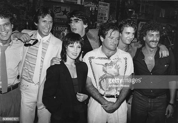 American actor and comedian Robin Williams with singer Pat Benatar and comedians Joe Piscopo and David Brenner at a party to celebrate the 10th...